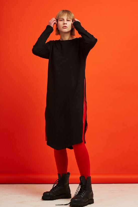 Платье ONE TWO молния (Геометрия), черный, 2х нитка. (1-23)