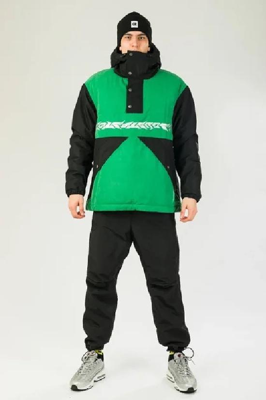 Куртка-Анорак зимняя Superblaster 2001 Черный/Зеленый Яркий
