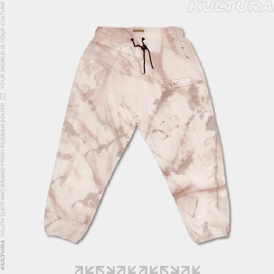 Трикотажные брюки  КУЛЬТУРА oversize  basic,  tie die бежевый