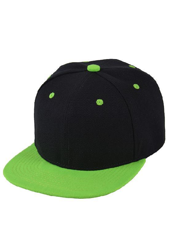 Бейсболка / Street Caps /6/чёрный с салатовым козырьком