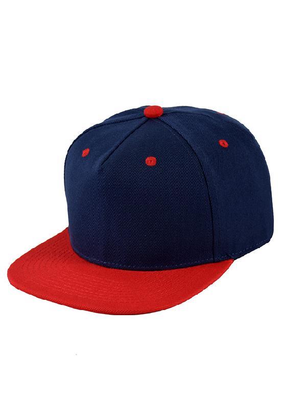 Бейсболка / Street Caps / 5 / тёмно-синий с красным козырьком