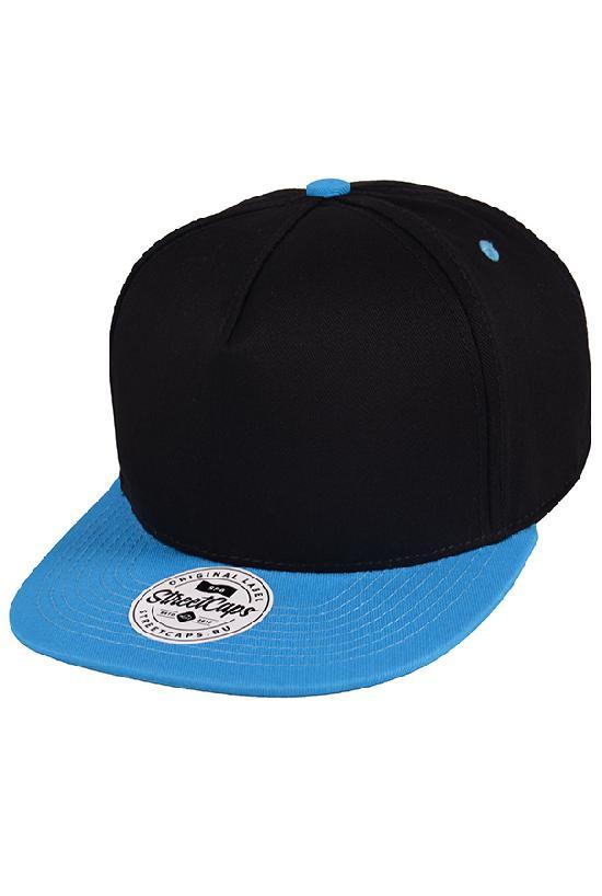 Бейсболка/Street Caps /5панель/ чёрный с голубым козырьком
