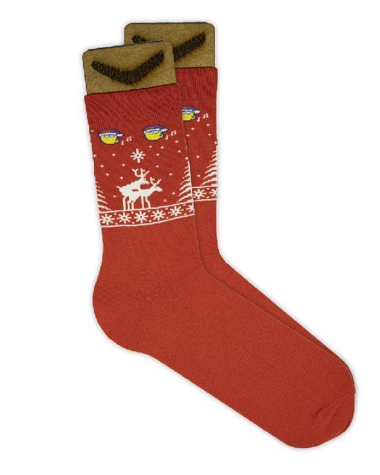 Носки SOCKS positive (Новогодние № 070) красные O/S