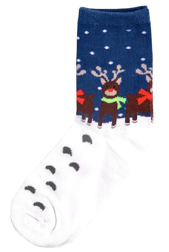 Носки / Street Socks / Олени в шарфах / бело-синий /  (One size)