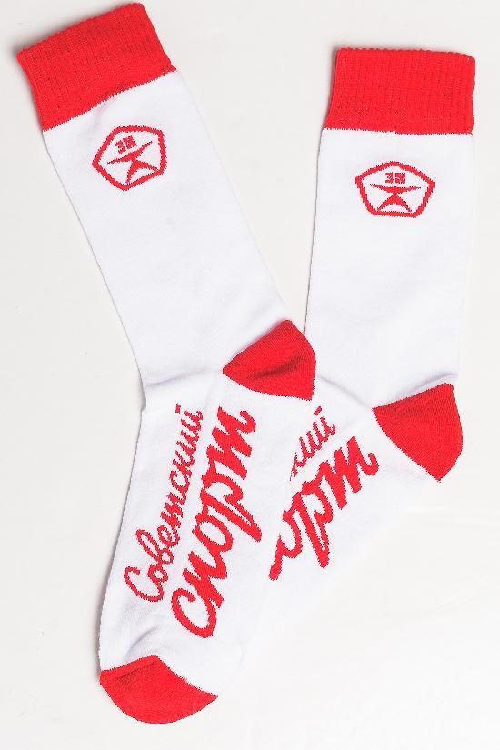 Носки ЗАПОРОЖЕЦ х СОВЕТСКИЙ СПОРТ  (Белый (Белый/Красный)