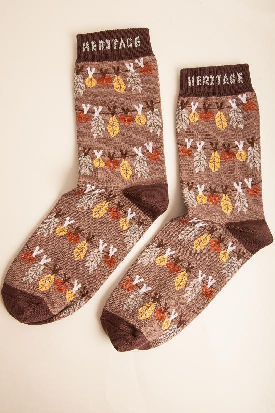 Носки ЗАПОРОЖЕЦ HERITAGE Осень Листья (женские)  (Коричневый)