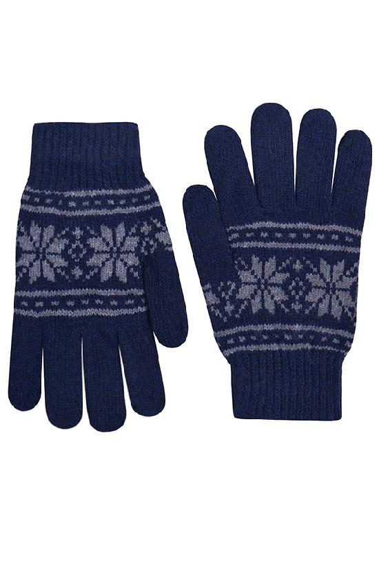 Перчатки / Winter / Морозный узор / тёмно-синий /  (One size)