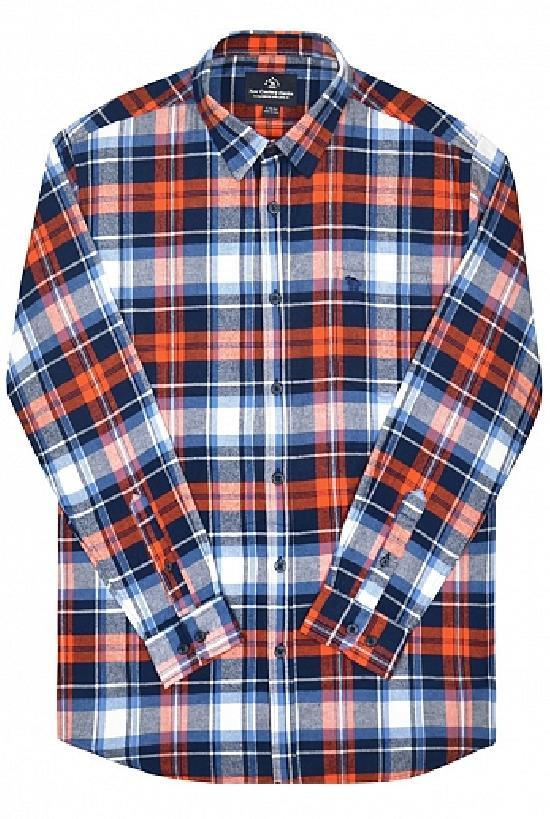 Рубашка / Camel Can Torp / Клетка 1329 / оранжево-тёмно-сине-белый