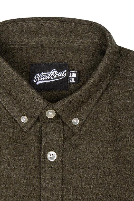 Рубашка мужская / Street Soul /мягкой хлопковой ткани 0154 / тёмно-зелёный