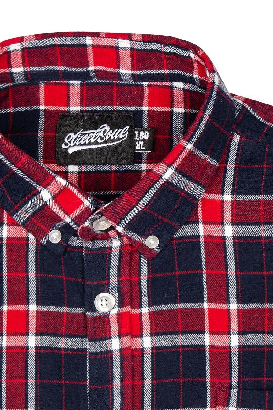 Рубашка мужская / Street Soul / Клетка 0147 / красно-тёмно-синий
