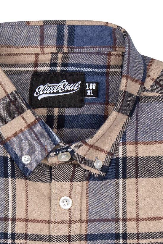 Рубашка мужская / Street Soul / Клетка 0145 / коричнево-синий