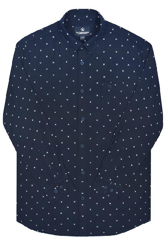 Рубашка мужская / Camel Can Torp / 1249 Узор крестики / тёмно-синий