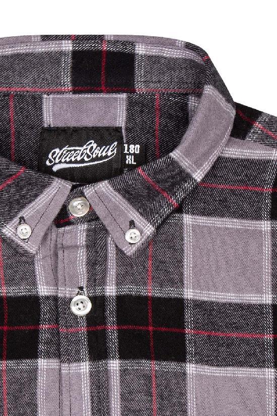 Рубашка мужская / Street Soul / Клетка 0141 / серо-чёрно-красный