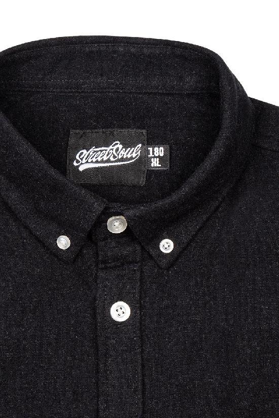 Рубашка мужская / Street Soul /рубашка из мягкой хлопковой ткани 0152 / чёрный