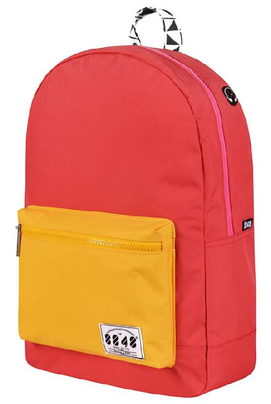 Рюкзак / 8848 / C054-13 Цветной карман/ красно-розовый с жёлтым карманом