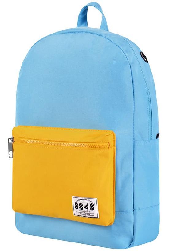 Рюкзак / 8848 / C054-16 Цветной карман/ голубой с жёлтым карманом