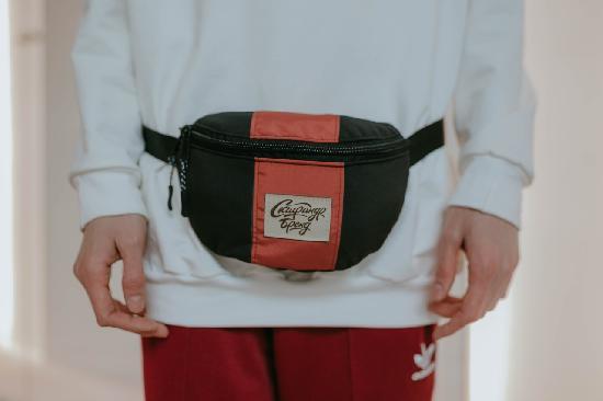 Поясная сумка SKFN Cross (чёрный/кирпич)