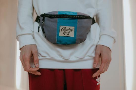 Поясная сумка SKFN Cross (серый/бирюза)