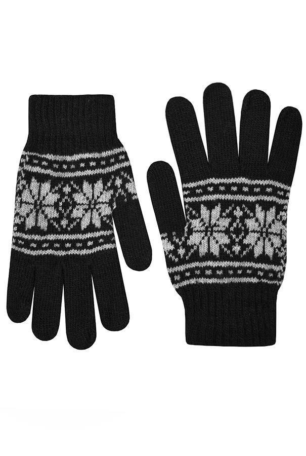 Перчатки / Winter / Морозный узор / чёрный /  (One size)