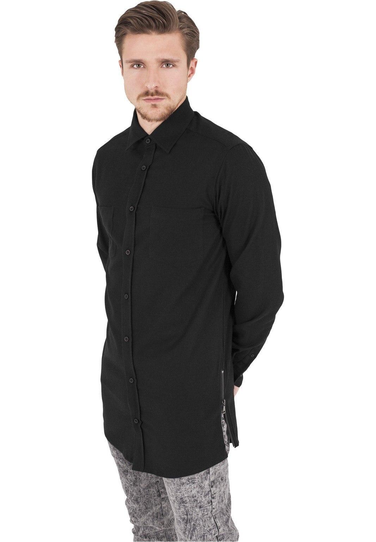 Рубашка URBAN CLASSICS Side-Zip Long Checked Flanell Shirt (Черный)