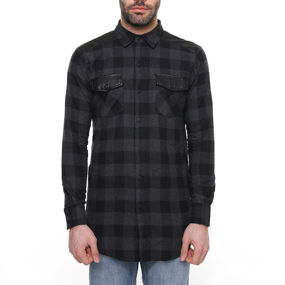 Рубашка UC Side Zip Leather Shoulder Flanell Shirt (Black/Charcoal)