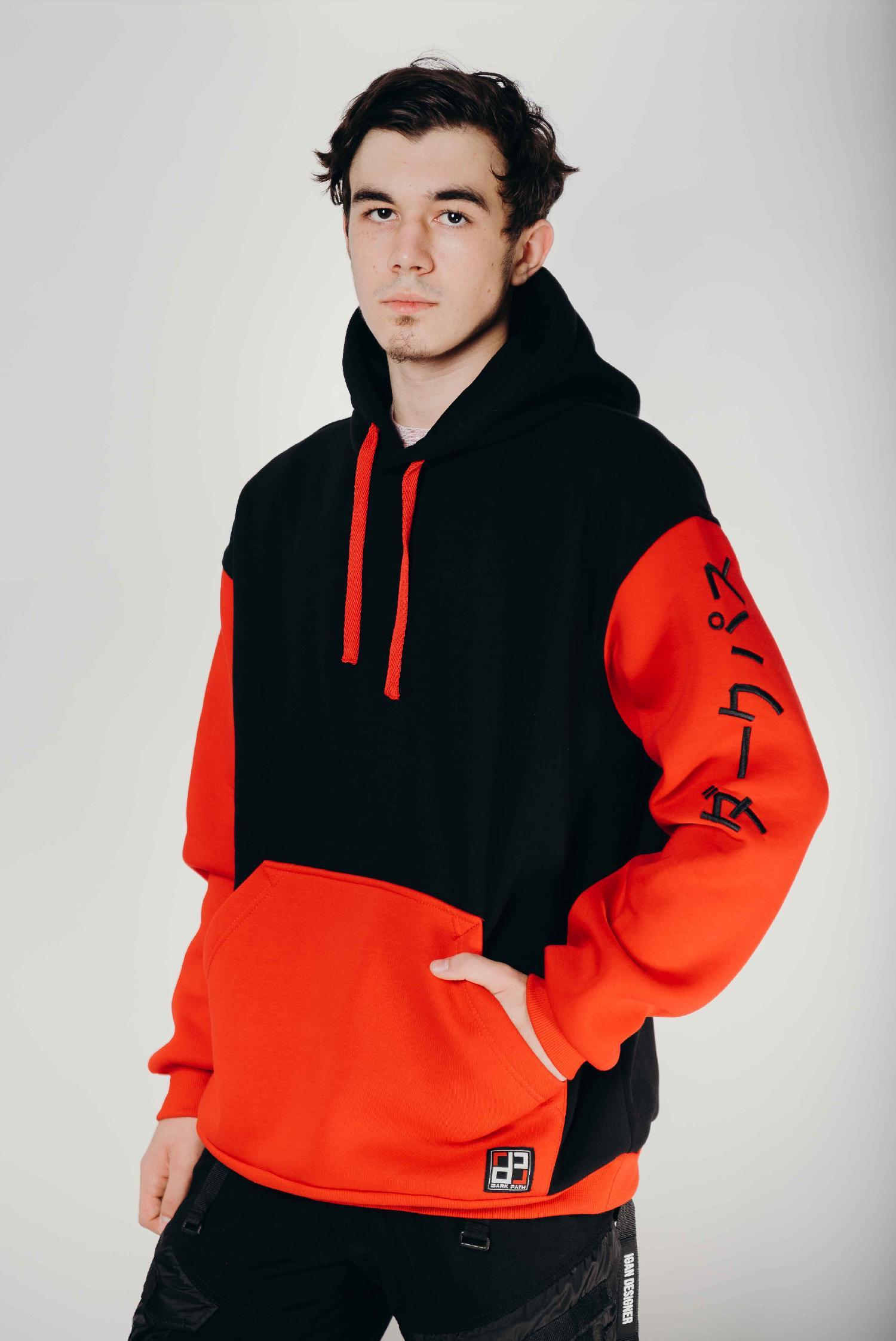 Худи / DARK PATH / DP-Х003-20 / начёс чёрный-красный