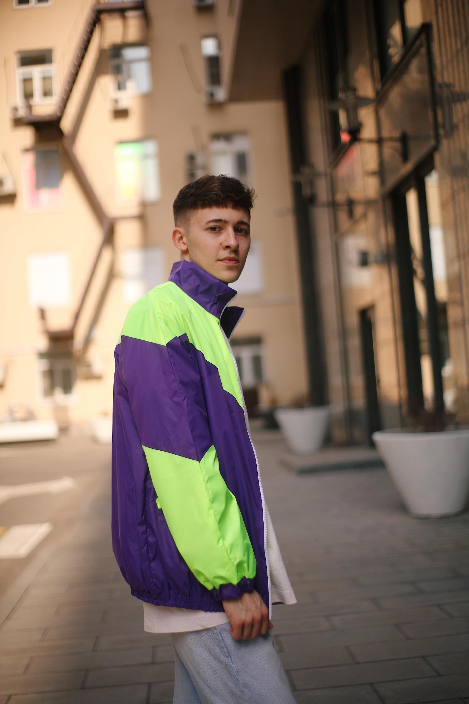 Куртка ONE TWO Олимпийка 3.0, фиолет-салатовый, (2-5)